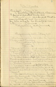 First page of the minutes for the first Cardinal Guild meeting on May 9, 1904 (RS 22/1/1, box 1, folder 1).