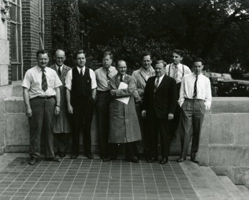 Director, Associate Director and Section Chiefs of the chemical research and development program at Iowa State College (University), which assisted in the World War II Manhattan Project. Left to Right: Harley Wilhelm, Adrian Daane, Amos Newton, Adolf Voigt, Wayne Keller, C. F. Gray, Frank Spedding, Robert Rundle, James Warf.