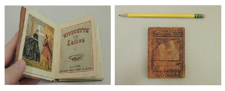 Title page and cover photos of Routledge's etiquette for ladies.