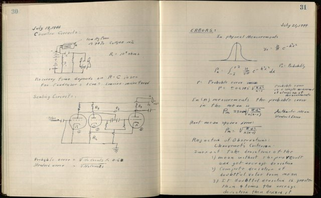 Pages from lab notebook of Joseph Feibig.