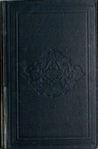 A book bound in blue cloth with a blind stamped central floral pattern inside a frame.