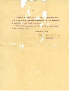 Letter from Mary Safford to Mrs. E. N. Mann, 1912; MS 471, box 1, folder 6
