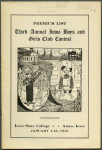 "Cover of program booklet for ""Third Annual Iowa Boys and Girls Club Contest"" showing a drawing of a boy in a corn field and a girl in a kitchen."