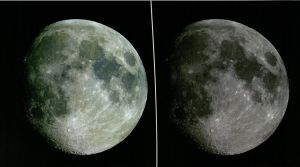 "The moon, as seen from the Mather telescope at Fick Observatory. This photo illustrates the changing color as well as the features of the moon. ""Splendor of the Iowa Skies"" calendar, RS13/20/6"