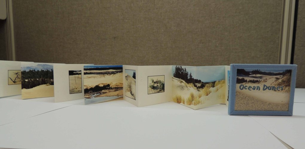 Shows the reverse side of the accordion pages with image details and photographs of scenic views.