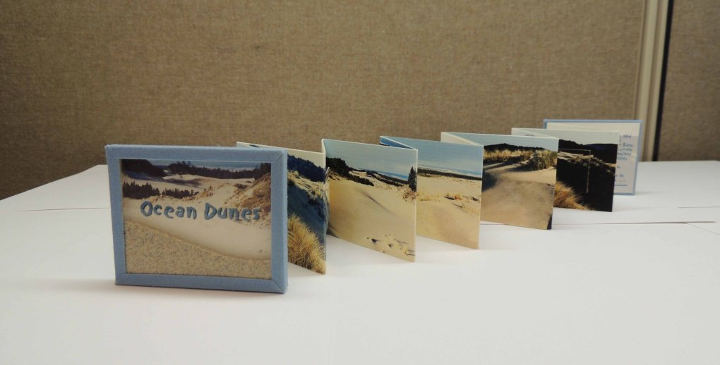 """Shows accordion-fold book with accordion opened to reveal panoramic photograph of ocean dunes. The cover shows a photograph of dunes with the words """"Ocean Dunes"""" printed on it. Beach sand is encased in plastic over the cover image."""