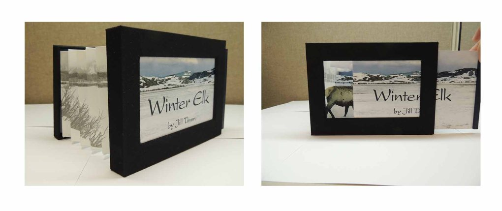 """Two images of the book """"Winter Elk."""" The left image shows the front and back covers extended like an accordion. The right image shows the cover board being slid out of the cover frame, revealing a landscape behind the cover."""