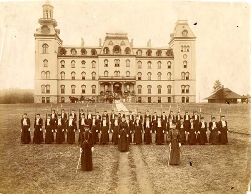Women's military drill at Old Main ca 1894