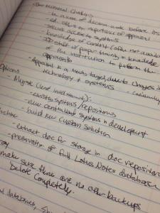 Some notes I took during a session. Fast writing does not make for good penmanship...