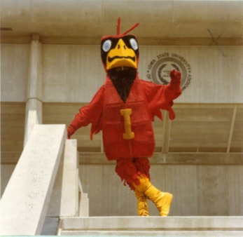 Cy in front of Hilton Coliseum