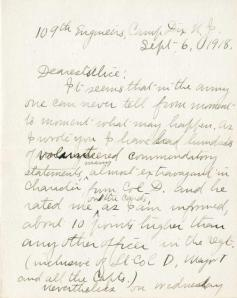 The first page of a letter from Marston to his wife, Alice, 1918. RS 11/1/11, box 15, folder 6.