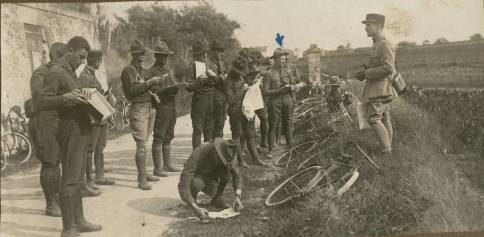 Training for the Reserve Corps at a school in Nice, France. Philip is pointed out by the blue arrow. Note the bikes that student soldiers used. RS 21/7/260, box 1.