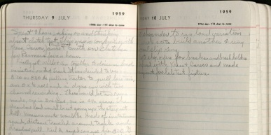 A portion of Peters' 1959 diary.