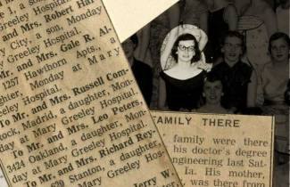 Suzanne Peters, a birth announcement, and a newspaper account of family in attendance at Peters' doctoral graduation. RS 11/10/51