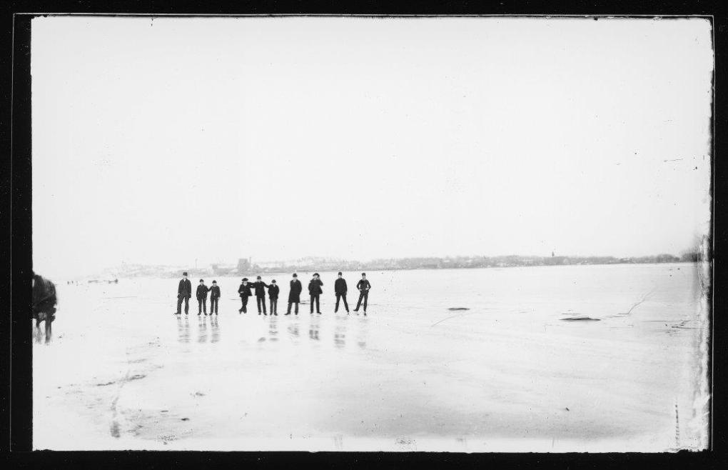 Young men ice skating, undated. MS 91, Box 9, Folder 1.