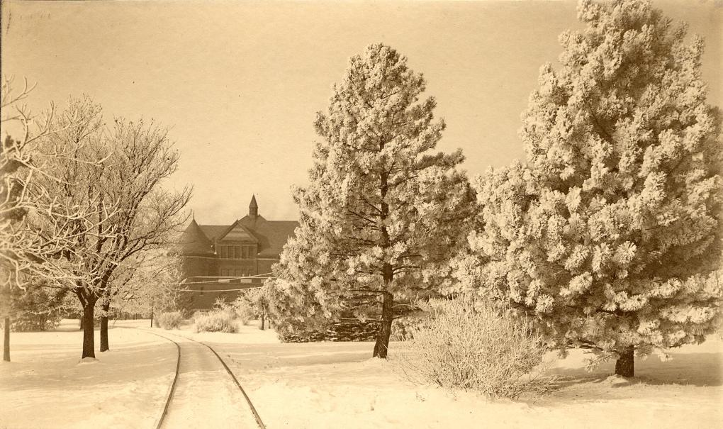 Morrill Hall in snow circa 1905