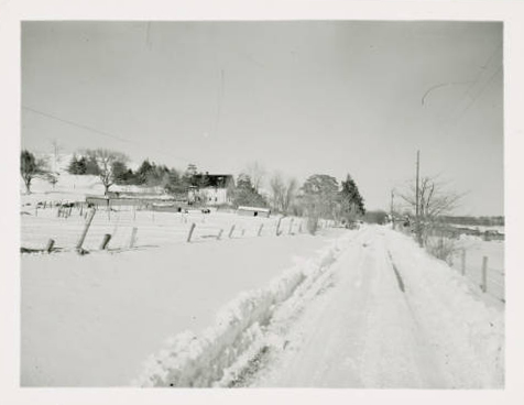 Plowed road passing a snow-covered farm with farmhouse and swine (09-02-H.IAHEES.529-11-04)