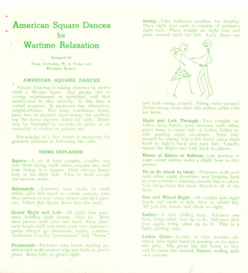 """American Square Dances for Wartime Relaxation"" pamphlet. Box 16, folder 5, William H. Stacy Papers, RS 16/3/57."