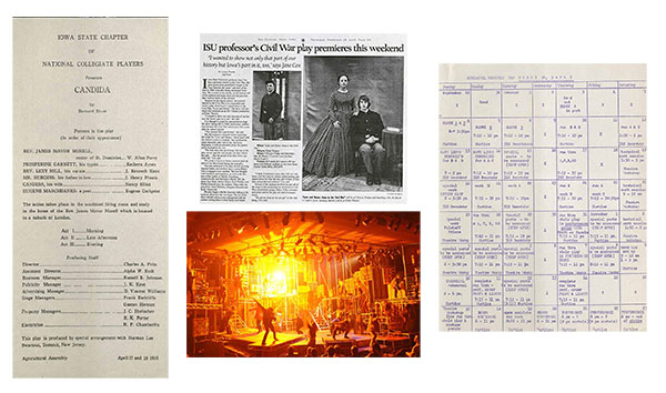 "Left to right: Playbill for ""Candida,"" 1925; news clipping about production of ""Love and Honor: Iowa in the Civil War,"" 2008; photo from performance of ""Rent"" in  Fisher Theater, 2012; rehearsal schedule for ""Henry IV, Part I,"" undated."