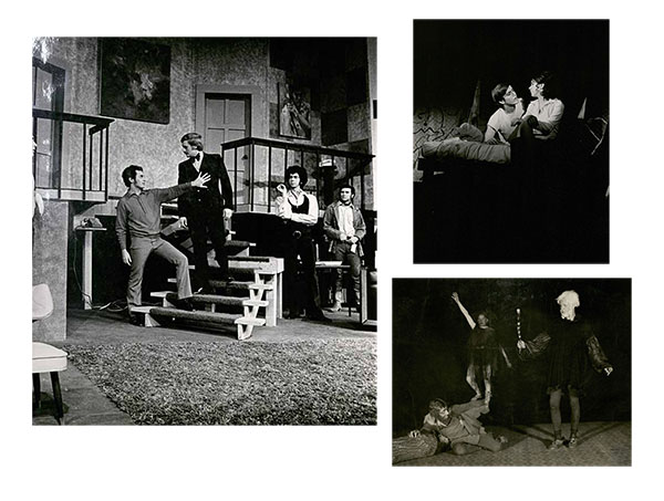 "ISU Theater productions, clockwise from left: ""The Boys in the Band,"" 1971 in Curtiss Hall Auditorium; ""Summertree,"" 1971 in Shattuck Theater; ""The Tempest,"" 1923."