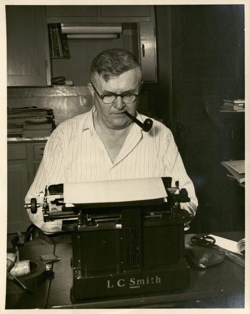 Ray Anderson at his typewriter, undated. (MS 61, box 1, folder 9)