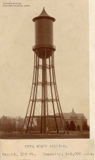 Completed Marston Water Tower, in 1897, showing Morrill Hall on the right and Margaret Hall on the left.