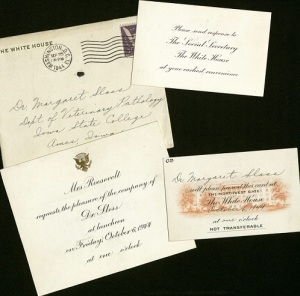 Invitation from Eleanor Roosevelt to Margaret Sloss for a luncheon at the White House on October 6, 1944.