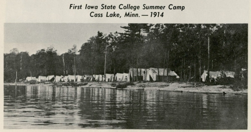 "Tents along Cass Lake, MN during the first Forestry Summer Camp, 1914. (""Fiftieth Anniversary"" booklet, RS 9/14/6, box 1, folder 1)"