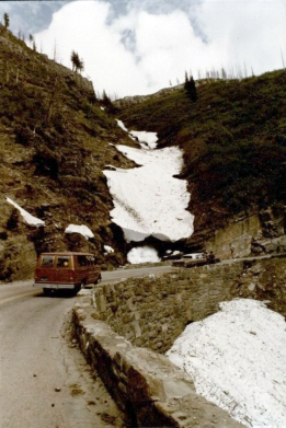 """Going to the Sun"" highway in Glacier National Park, 1982. (University Photographs)"