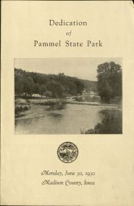 Program from the dedication of Pammel State Park, 1930. Box 76, Folder 8.