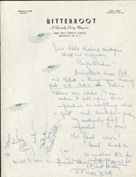 Letter from Menke Katz, editor of the poetry magazine Bitterroot, to Richard Gustafson, ca. 1964. Poet and Critic Manuscripts File, RS 13/10/0/5, Box 1.