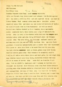 Correspondent's dispatch from Plambeck, April 30, 1945. RS 21/7/42, Box 41, Folder 64