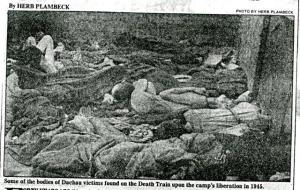 "Photograph of bodies on the ""Train of Death,"" from unknown newspaper, 1985. RS 21/7/42, Box 41, Folder 64"