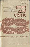 Front cover of the first volume of Poet and Critic under Gustafson's editorship. Vol. 1, No. 1, Fall 1964.