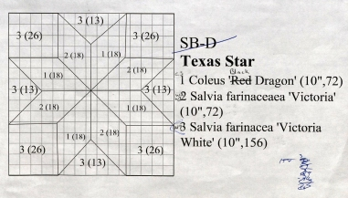 "A planting map for the ""Texas Star"" square in the garden quilt. (RS 5/7/4, box 11, folder 8.)"