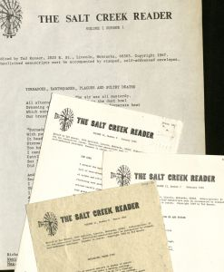 Various issues of The Salt Creek Reader, from the Richard Gustafson Papers, RS 13/10/53, Box 1/Folder 7.