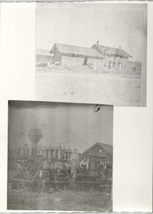 Top photo shows the depot at Moingona in 1876. The bottom photo may be the pusher engine that crashed into Honey Creek. University Photo Collection, RS 4/8/L, Box 373.