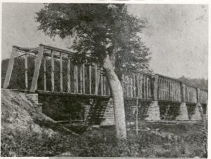Des Moines River bridge crossed by Kate Shelley in 1881. University Photograph Collection RS 4/8/L, box 373.