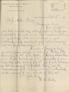 Letter from E. O. Soule to Kate Shelley, MS 684, Box 1, Folder 6. (Click on image to enlarge.)