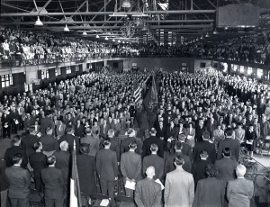 A view of the ceremony held for receiving the award. The event was put on in the Iowa State College (University) State Gym. (Negative #118174, University Photographs)