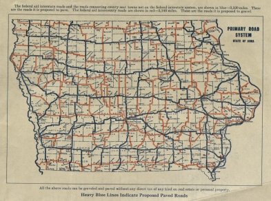 Proposed road pavements, Iowa, ca. 1920s. (MS 209, box 21, folder 23)