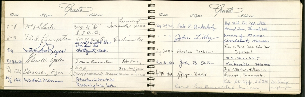 1962 guest book for the Iowa Cooperative Fish and Wildlife Research Unit. Click to enlarge. (RS 9/10/4, box 4, folder 10)