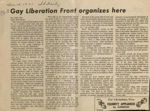 ISU's Gay Liberation Front makes its public debut, 1971. RS 22/4/0/1, Box 1, Folder 35