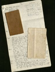 Two of St. John Cook's journals on top of large paper onto which the journals were recopied in larger handwriting, MS 314, Box 1 Folders 2 and 3.