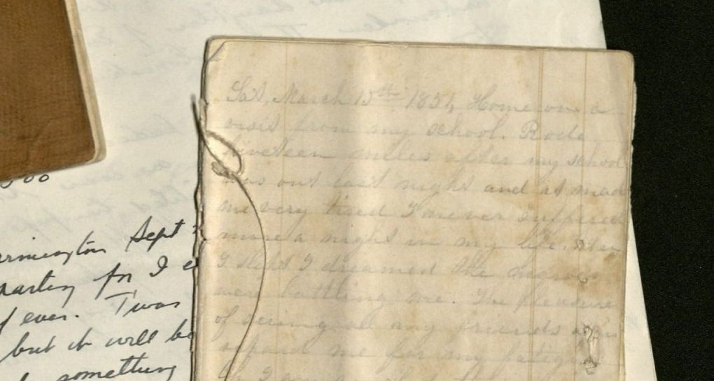 A close-up view of St. John Cook's small handwritten journal in pencil. (click for larger image)