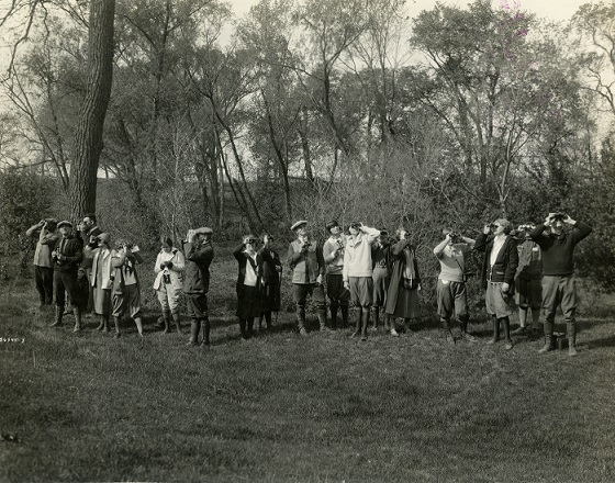 Iowa State students on campus watching for birds, May 1925. University Photographs Collection, Box 608, Folder 2.