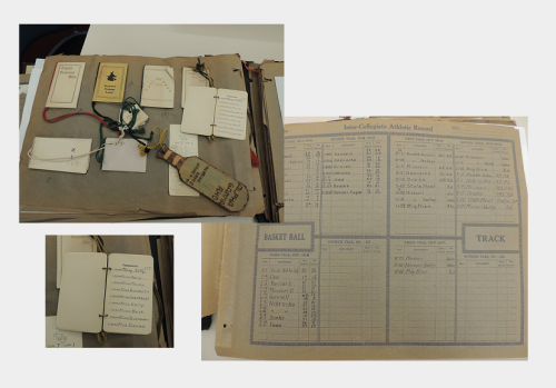 Pages from the Raymond T. Benson Scrapbook, RS 21/7/81, showing dance cards and sports score charts, circa 1913-1919.