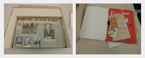 Mary E. (Graf) Speer Scrapbook, RS 21/7/250, in box with spacers and separated material in folder.