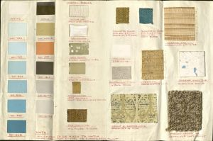 """Color Scheme and Fabrics for the Tilden Store Co., Ames, Iowa"" by Alvin L. Weidt Designers Associates, Minneapolis, Minnesota. (undated). (MS 73, box  4, folder 11)"
