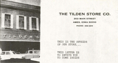 """This is the outside of our store... this letter is to invite you to come inside."" Marketing letter from The Tilden Store Company  of Ames, Iowa. (click for full letter and map). (MS 75, box 2 , folder 7)"